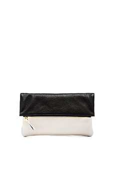 Clare V. Foldover Clutch in Black Gravel & White