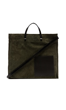 Clare V. Patch Pocket Simple Tote in Army Suede & Black