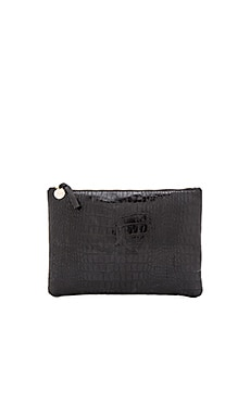 Clare V. Flat Clutch in Black Alligo