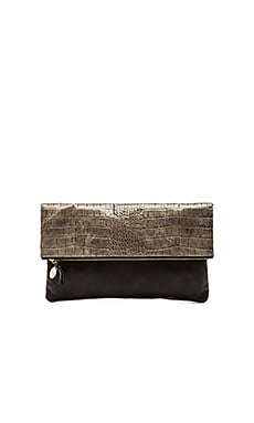 Clare V. Foldover Clutch in Grey Alligo & Black