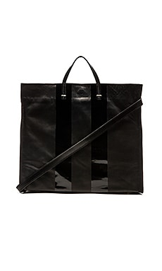 Clare V. Simple Tote in Black & Black Glossy Stripes