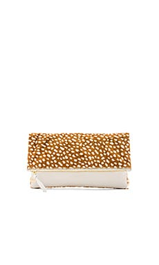 Clare V. Foldover Clutch in Tan Ladybug & White