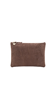 Clare V. Flat Clutch in Taupe Snake