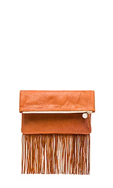 Clare V. Fringe Foldover Clutch in British Tan