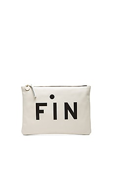 Clare V. Fin Flat Clutch in White & Black