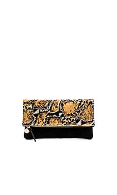 Clare V. Foldover Clutch in Snake Hair-On & Black Suede