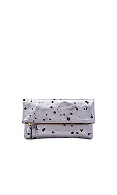 Clare V. Foldover Clutch in Silver & Black Splash Print