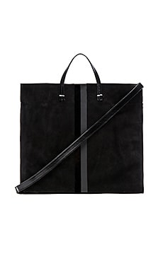 Clare V. Simple Tote in Black Suede, Black Glossy & Matte Stripe