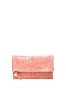 Foldover Clutch in Coral Croco