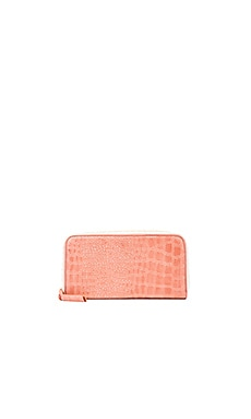 Clare V. Zip Wallet in Coral Croco