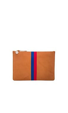 Margot Flat Clutch en Cuoio Vachetta, Royal Blue & Red Stripes