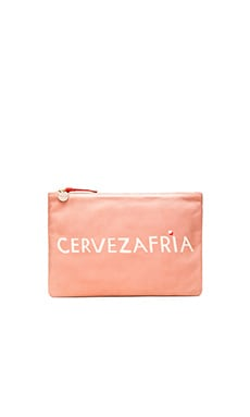 Flat Clutch in Blush Nappa & Cream