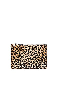 Patchwork V Flat Clutch in Leopard Hair On