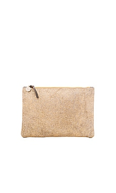 Flat Supreme Clutch in Gold Woven