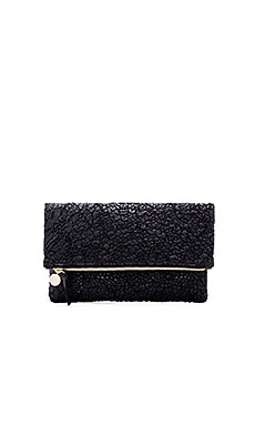 Foldover Supreme Clutch in Black Lace