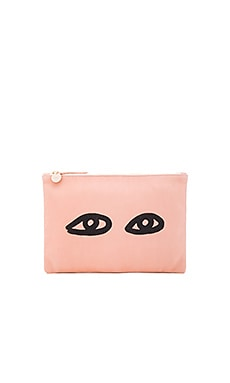 Flat Supreme Clutch in Blush & Black
