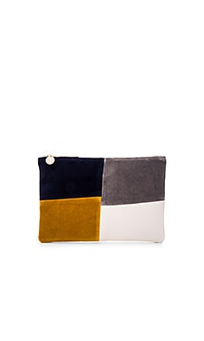 Patchwork Grid Flat Clutch in CTN Velvet Patchwork