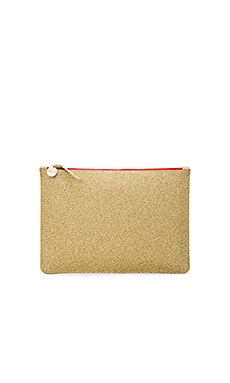 Margot Supreme Flat Clutch in Gold Glitter