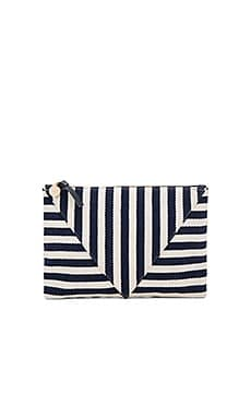 Patchwork Flat Clutch – Navy Mariner Stripe