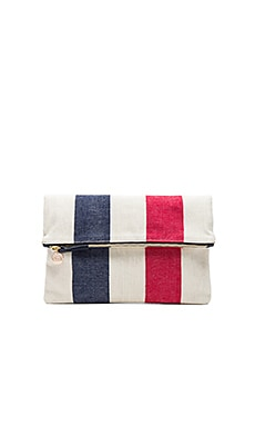 Canvas Foldover Clutch en Navy & Poppy Awning Stripe