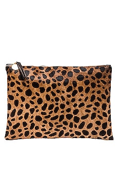 Flat Calf Hair Clutch em Leopardo