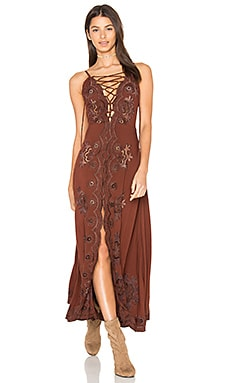 Annie Midi Dress in Chestnut & Brown