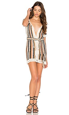 Bardot Short Dress With Sash in Multi