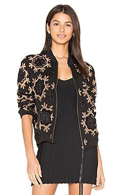 Fiona Bomber Jacket in Black & Nude