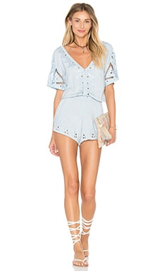 Caroline Romper en Dusty Blue