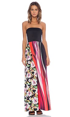 Clover Canyon Botanical Wave Strapless Dress in Multi