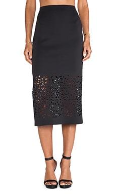 Clover Canyon Lasercut Neoprene Skirt in Black