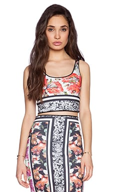 Clover Canyon Floral Scarf Print Reverible Crop Top in Multi