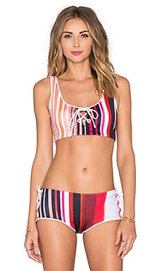 Clover Canyon Striped Eclipse Bikini Top in Red