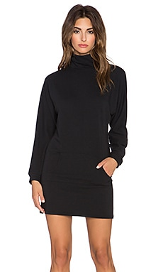 Clayton French Terry Slouchy Turtleneck Dress in Black
