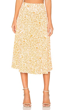 Clayton Cameron Midi Skirt in Tangerine Leopard