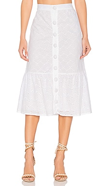 Vine Eyelet Anita Skirt in White