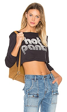 Hot Pant Long Sleeve Cropped Tee in Charcoal