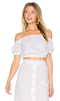 Vine Eyelet Nolan Top in White