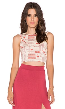Clayton Cassie Crop Top in Neutral Folk