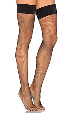 Up All Night Fishnet Thigh High en Noir