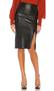 Faux Leather Side Slit Midi Skirt Commando $118