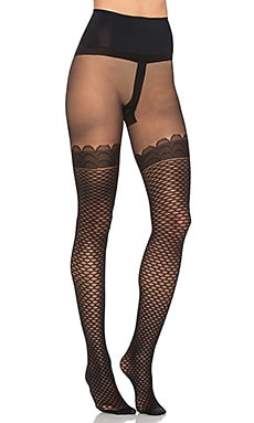 Commando Bees Knees Faux Thigh High Sheer Tight in Black