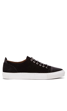 Common Cut Donato Sneaker in Black Leather Black Suede