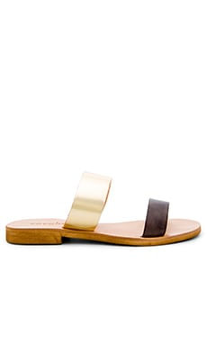 Leather Slide Sandal in Smoke