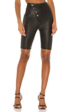 Mila Leather Bike Shorts Camila Coelho $211