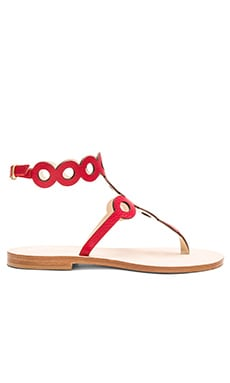 Minori Sandal in Blood Orange Deerskin
