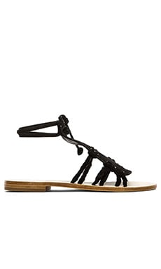 CoRNETTI Amalfi Suede T Strap Sandals in Black