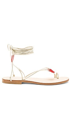 Ventroso Sandal in Gold & Red Suede Hearts