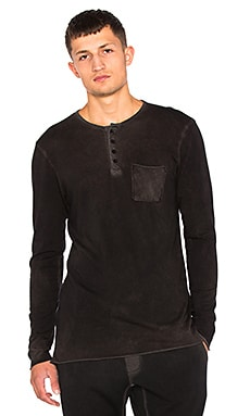COTTON CITIZEN The Jagger Henley in Vintage Black