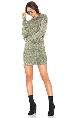 The Monaco Thermal Hoodie Mini Dress in Sage Dust